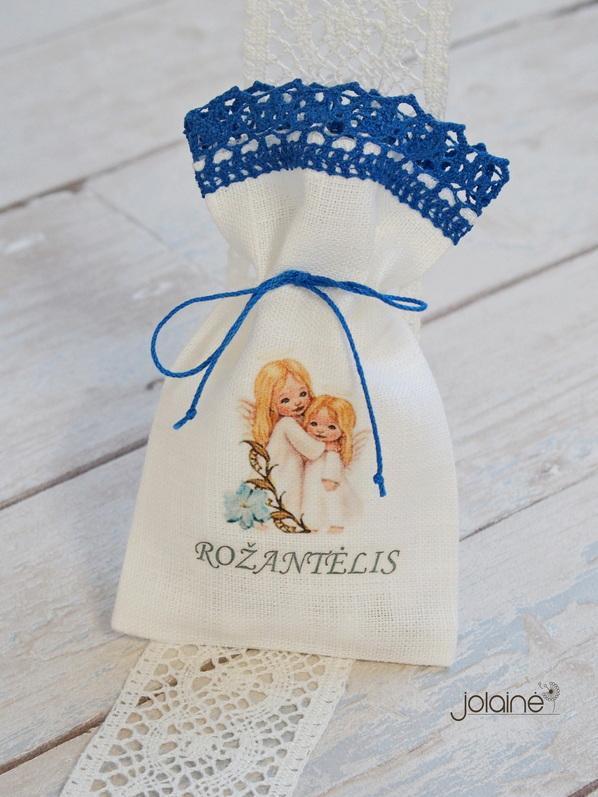 Lininis maišelis rožančiui
