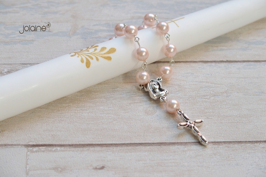 Kelioninis rožančius Rožinis perlas