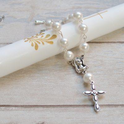 Kelioninis rožančius Baltas perlas