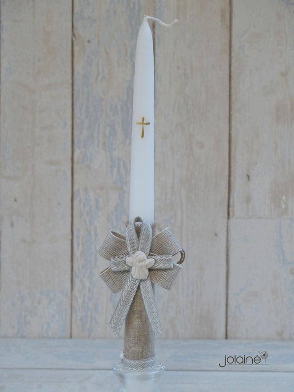 Dekoruota krikšto žvakė su angelu