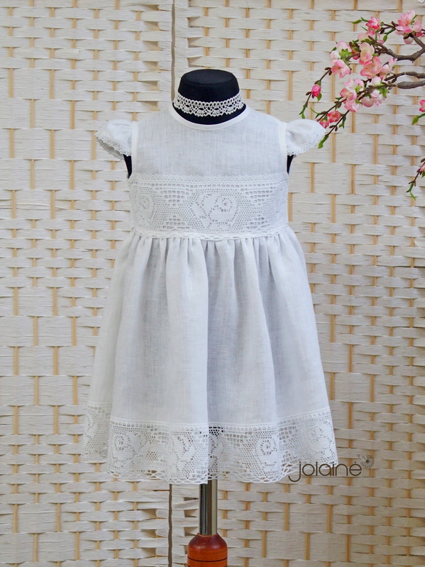 Lininė krikšto suknelė
